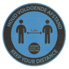 Safety Distance Sticker, Rond Blauw, tapijt