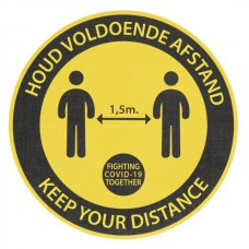 Safety Distance Sticker Rond Geel, tapijt