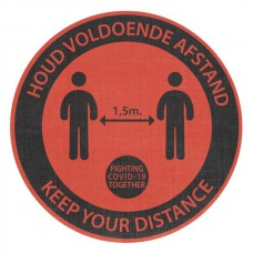 Safety Distance Sticker Rond Rood, tapijt